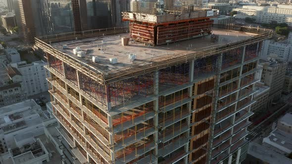 Thumbnail for Close Up of Construction Site Skyscraper in Downtown Los Angeles, California Skyline at