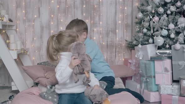 Active Joyful Blond Siblings Play with Soft Toys in Room