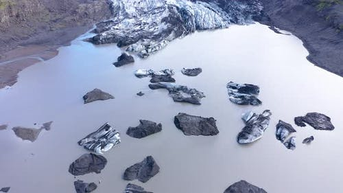 Aerial View of Floating Icebergs in Fjallsarlon Glacier, Iceland. Climate Change, Global War Concept