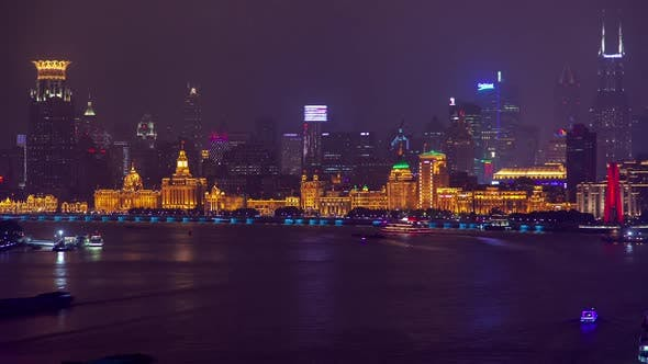 Thumbnail for Shanghai Waitan Area Reflected in Huangpu in China Timelapse