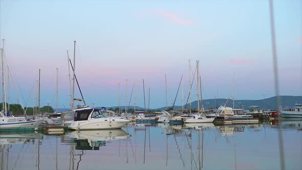 Thumbnail for Evening Scene of Harbour with Yachts