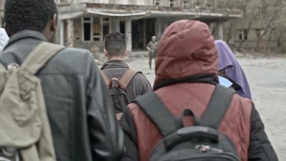 Thumbnail for Group of Arab Refugees Walking