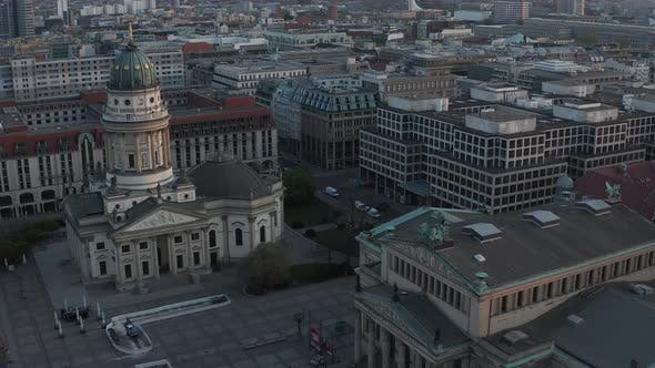 AERIAL: Empty Berlin Gendarmenmarkt Square with View on German Church and Konzerthaus During