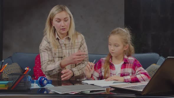 Thumbnail for Mother with Daughter Learning Together at Home