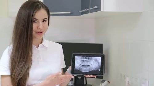 Tooth brushing, girl dentist, oral hygiene