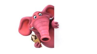 Fun 3D cartoon elephant with an ice cream