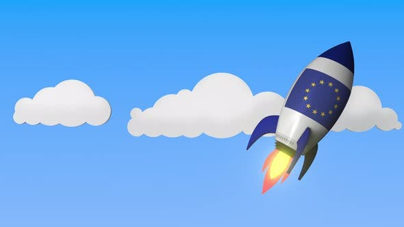 Thumbnail for Flag of the EU on Rocket Flying High in the Sky