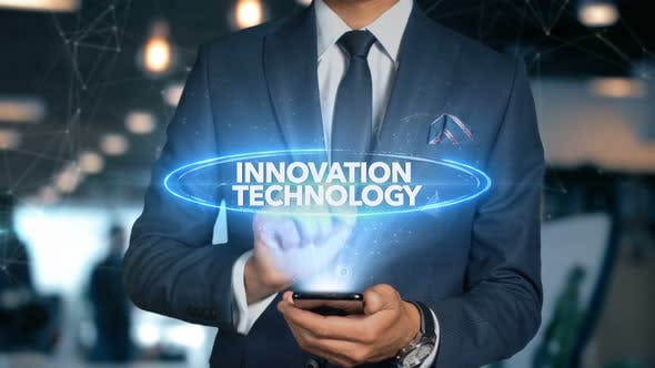 Cover Image for Businessman Smartphone Hologram Word   Innovation Technology