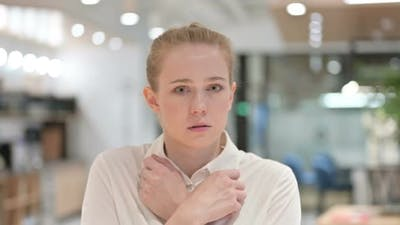Scared Young Woman Feeling Afraid and Worried