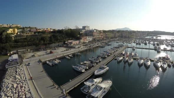 Thumbnail for Top View of Many Boats Moored at Marina Grande on Procida Island Luxury Hobby