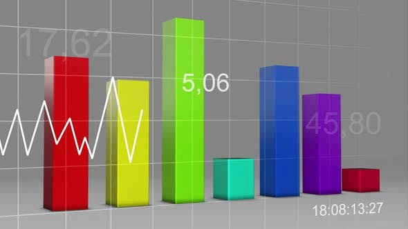 Thumbnail for Volatile Market Multi Color Chart Bar Statistic 3D Loop