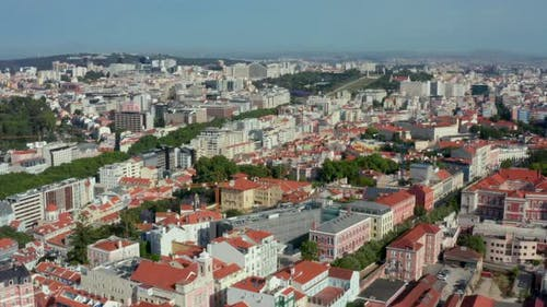 Aerial of downtown Lisbon's park and government buildings
