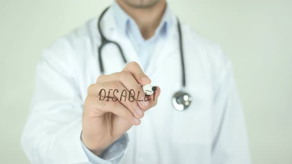 Thumbnail for Disabled, Doctor Writing on Transparent Screen