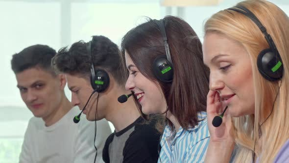 Thumbnail for Group of Young People Wearing Headsets, Working at Call Center