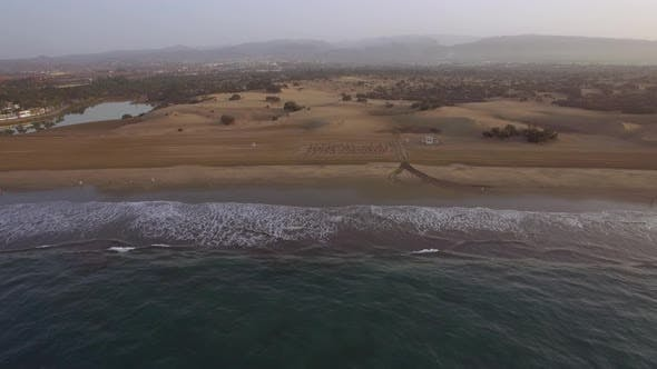 Thumbnail for Flying Over Ocean, Beach and Sand Dunes on Gran Canaria
