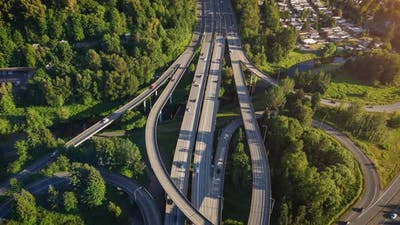 Aerial Hyperlapse Over Freeway In Washington Evergreen State