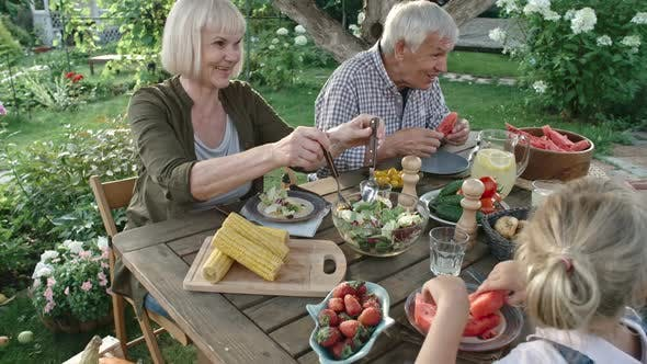 Thumbnail for Vegan Family Eating Organic Food in Garden