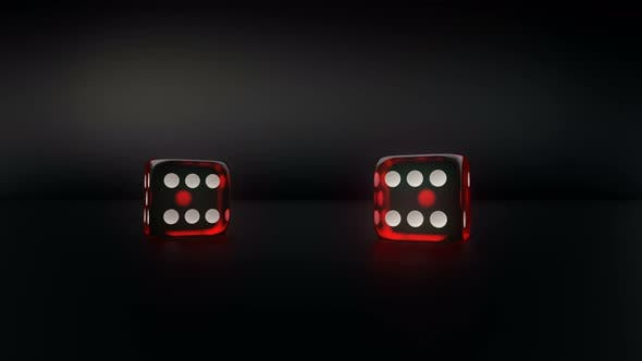 Thumbnail for Pair Of Red Glass Casino Dice Roll Slow Motion Result Pair Of Three