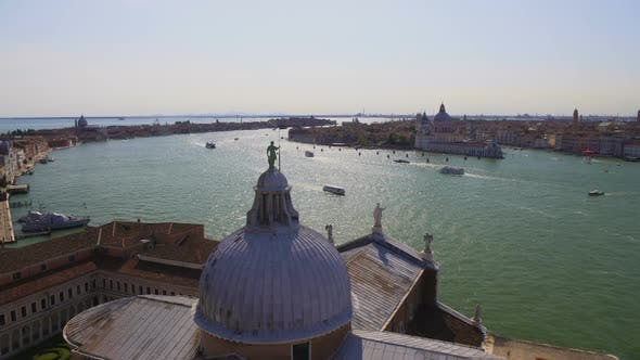 Thumbnail for Statue of St. George Standing on Dome of Cathedral, View of Grand Canal, Venice