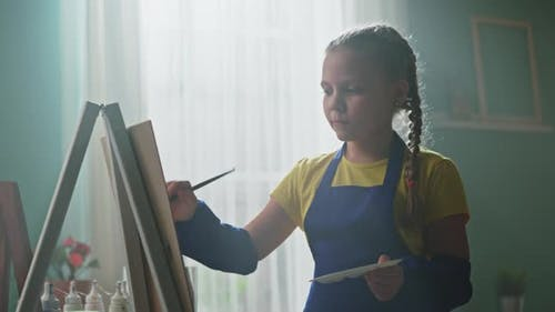 Girl Student Is Practicing Painting