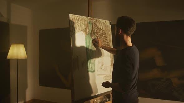 Thumbnail for Man Drawing in An Art Studio