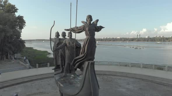 Monument To the Founders of Kyiv, Ukraine, Aerial