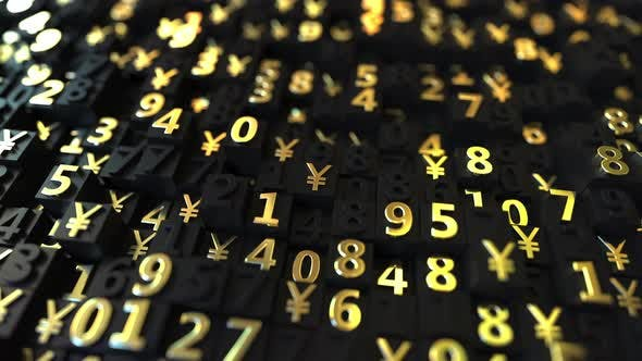 Thumbnail for Gold Japanese Yen JPY Symbols and Numbers