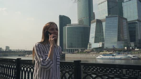 Thumbnail for Woman Student Walking City Outdoor Call Phone, Talking Phone Audio Message Happy Girl Skyscrapers on