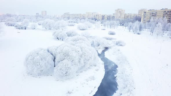 Thumbnail for Aerial Winter City Park 10