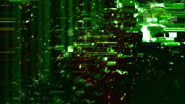 Abstract Green Defected Hacked HUD Cyber Glitch Background Loop