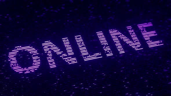 Thumbnail for Purple ONLINE Word Made with Flying Luminescent Particles