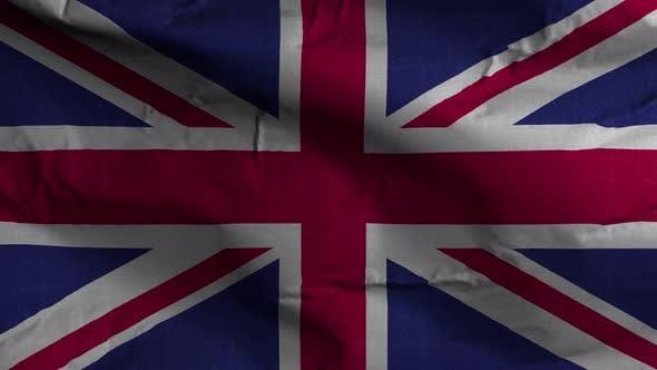 United Kingdom Flag Textured Waving Background 4K