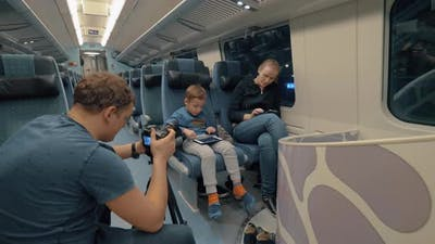 Stocker making footage of family train journey