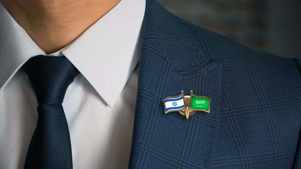 Cover Image for Businessman Friend Flags Pin Israel Saudi Arabia