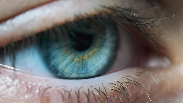 Thumbnail for Beautiful Blue Woman Eye, Extreme Close-up. Sight. Detail View Young Girl's Eye