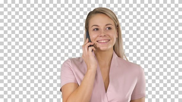 Thumbnail for Portrait of Smiling Beautiful Young Woman Close up With Mobile