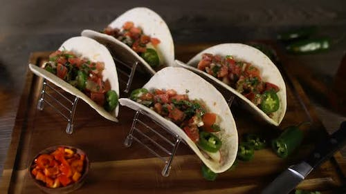 Meat Tacos on Wood Board 19