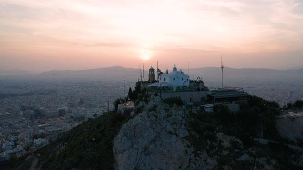 Thumbnail for Athens at Sunset and Lycabettus Hill. Aerial View. Greece.