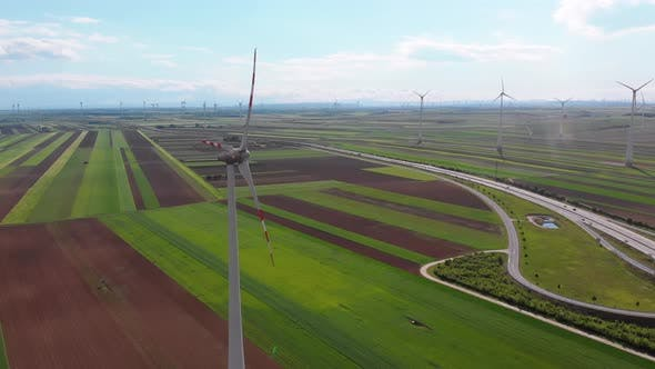 Thumbnail for Aerial View of Wind Turbines Farm and Agricultural Fields. Austria.