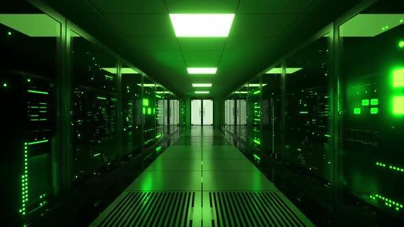 Digital Data Transmission to Data Servers Behind Glass Panels in a Data Center Server Room