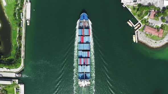 Thumbnail for Loaded Cargo Ship at Miami Port, Water Cargo Transportation
