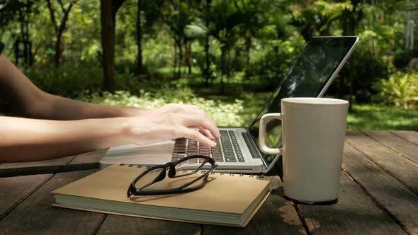 Thumbnail for Freelancer Use Computer At Park