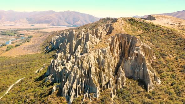 Thumbnail for Aerial view of Clay Cliffs, touristic destination at Otago, New Zealand.