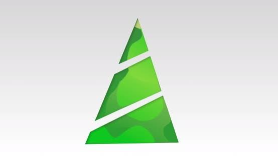 Thumbnail for Animation eines modernen digitalen grünen Weihnachtsbaums mit Weihnachtsschmuck auf grauem Hintergrund