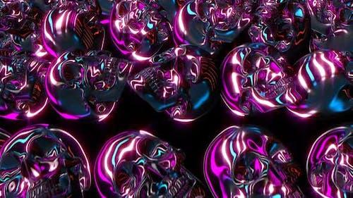 Neon glänzende Schädel für Glam Halloween