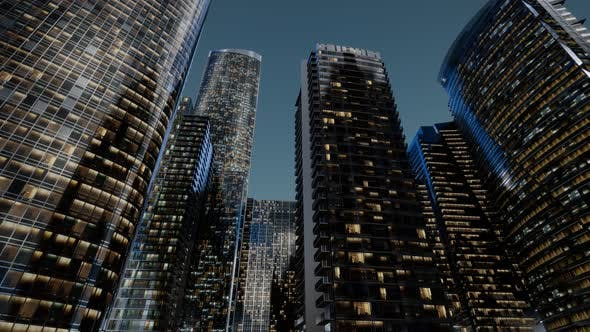 Thumbnail for City Skyscrapers at Night with Dark Sky