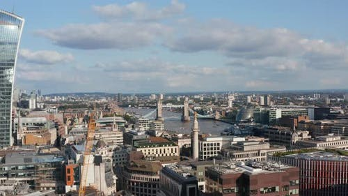 Aerial View of Buildings Around River Thames at Tower Bridge