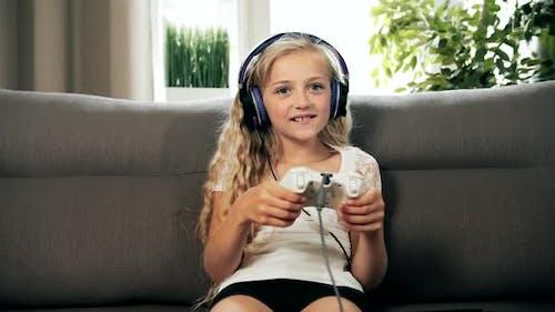 Girl Winning Video Game