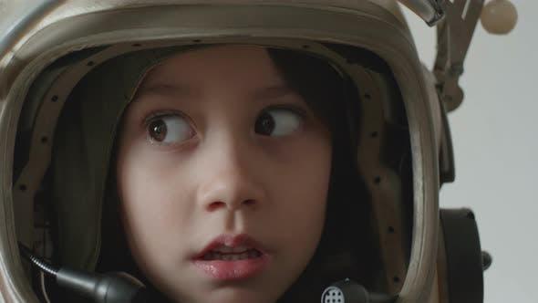 Pretty Child Girl Cosmonaut