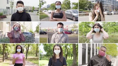 Compilation  Group of Nine Multicultural People with Face Mask Takes Off Face Masks and Looks